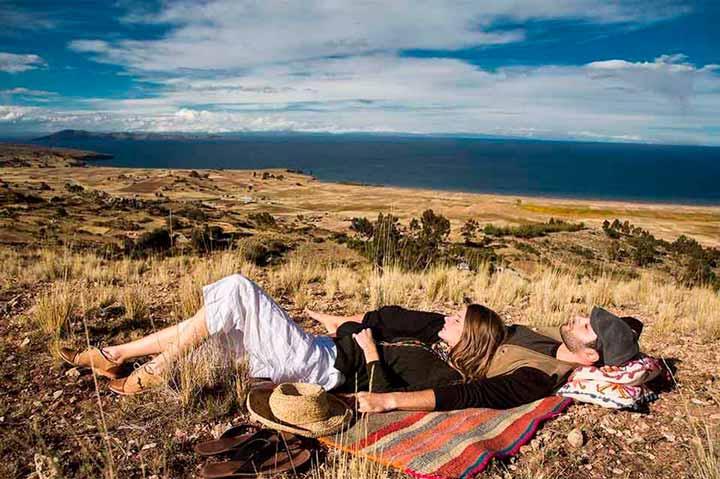 Resting close titicaca